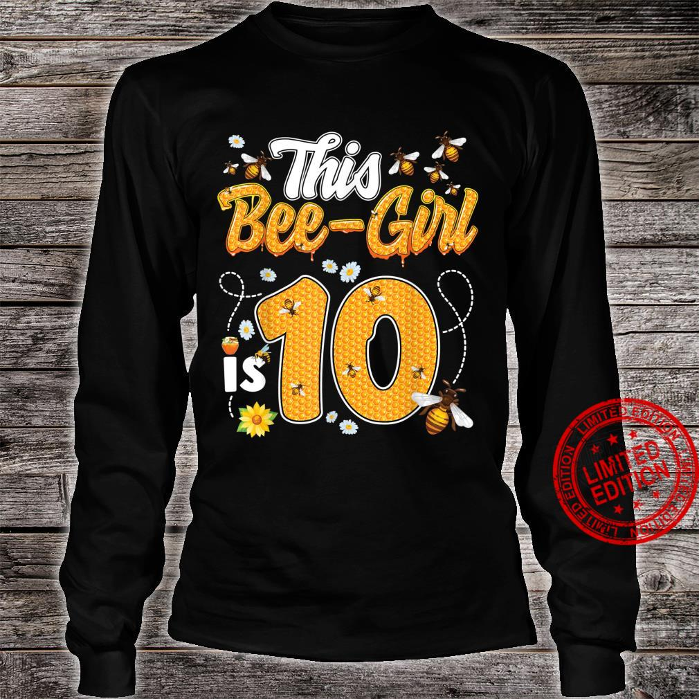 10th Birthday Girl Bee Theme 10 Years Old Matching Party Shirt long sleeved
