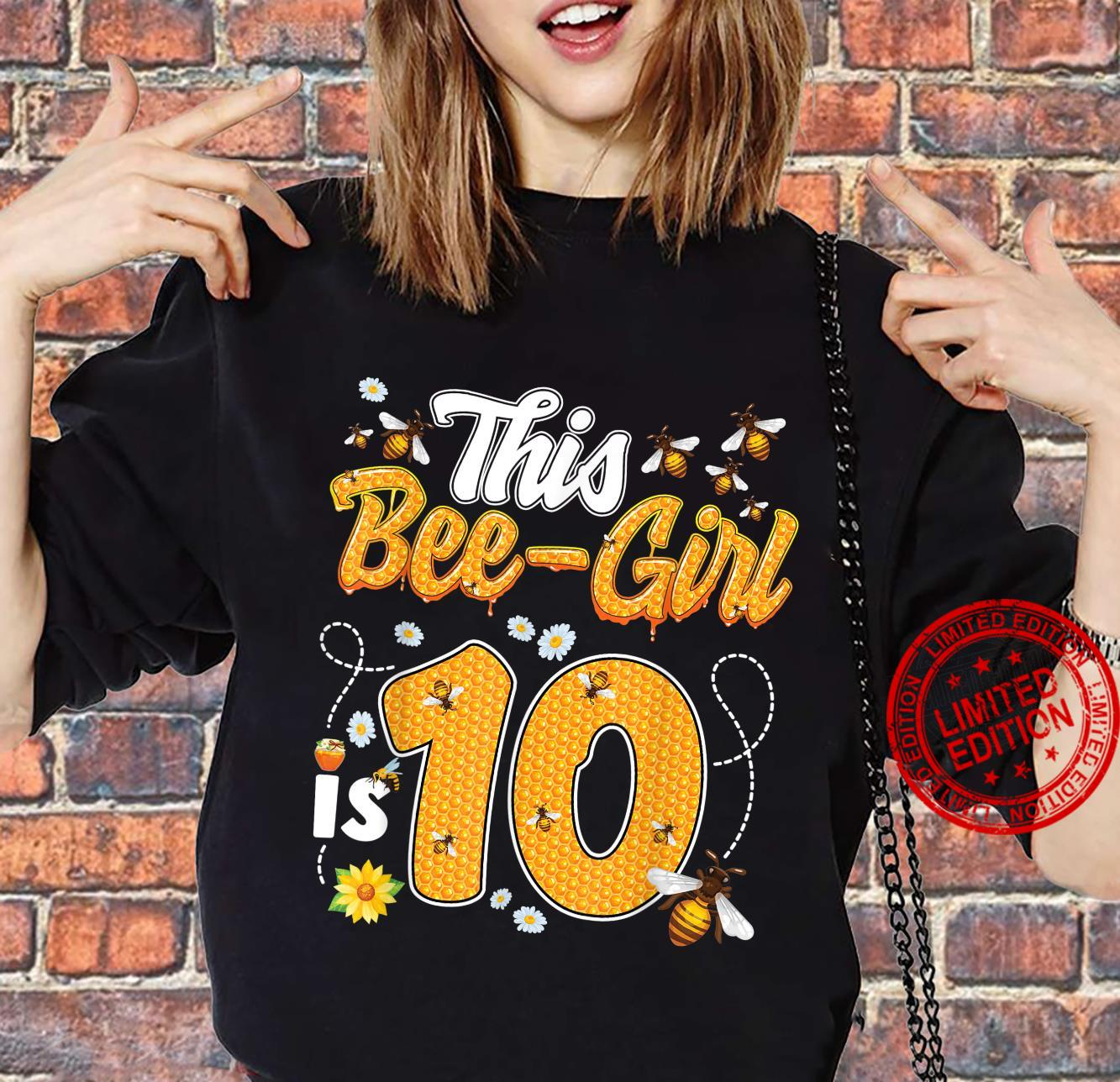 10th Birthday Girl Bee Theme 10 Years Old Matching Party Shirt sweater