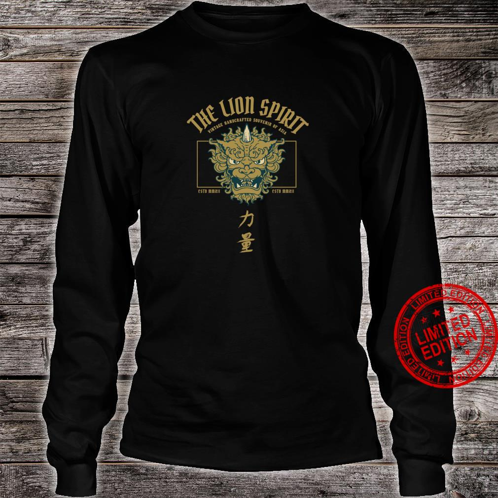 The lion spirit, Asian shi shi lion temple mask with kanji Shirt long sleeved